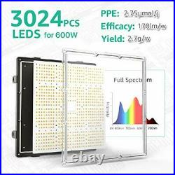 GROPLANNER 600 Watts LED Grow Light 3024pcs LEDs 5x5 Grow Light 600W GP-6000