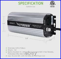 VIVOSUN 400W Watt Grow Light System HPS MH Ballast Air Cool Hood Kit No bulbs