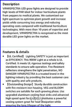 Viparspectra LED Grow Light TC900S Timer Control 900 watts